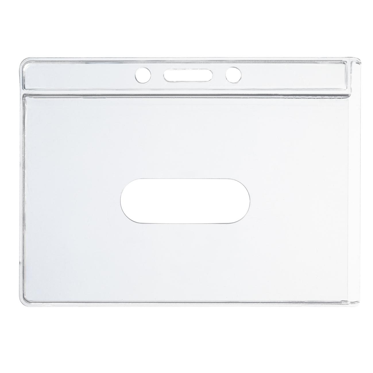 Transparente Scheckkartenhülle mit Daumen-Schiebeloch und Stanzung aus Hart-PVC