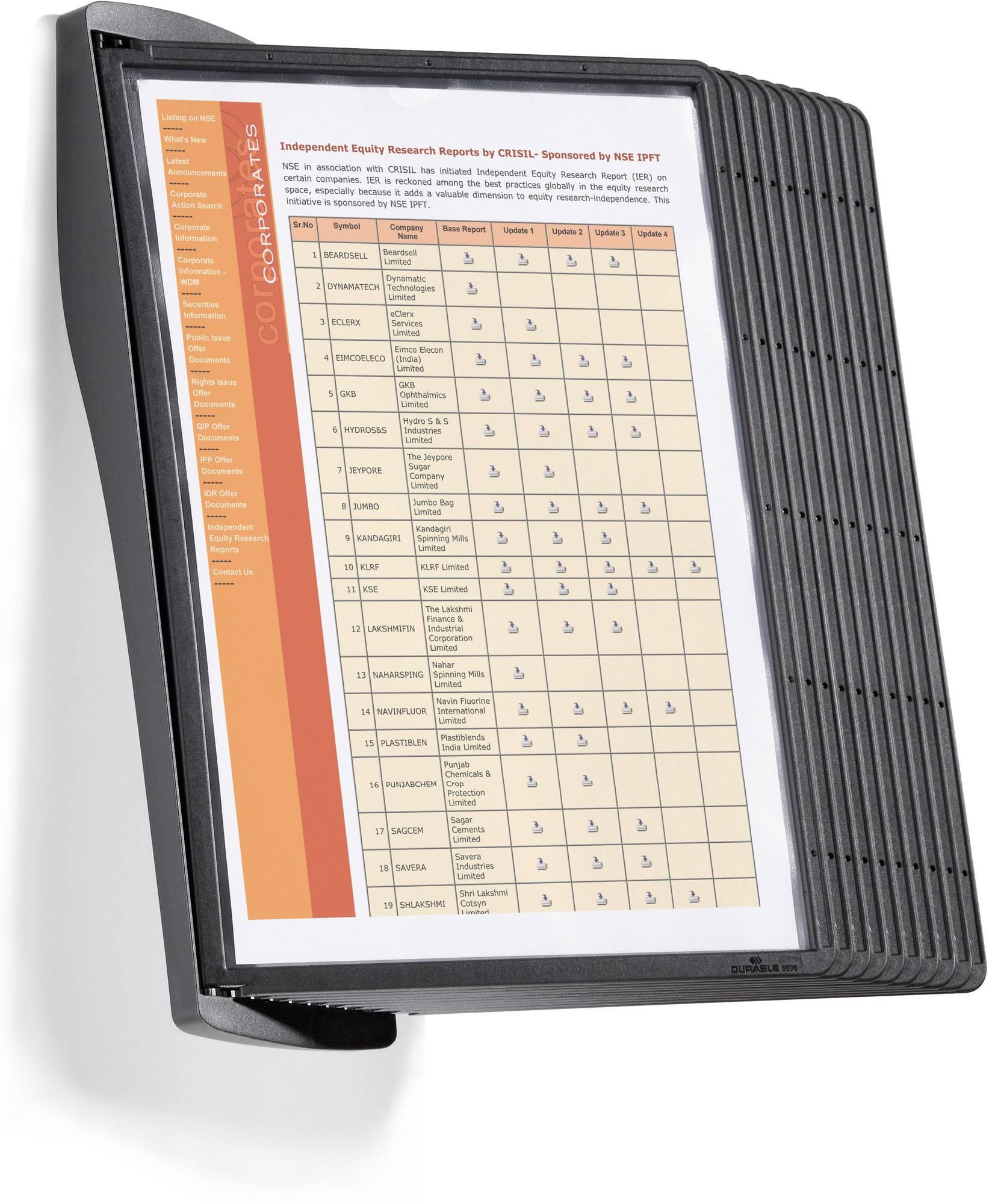 Wandbutler 'SHERPA STYLE WALL 10' mit 10 Tafeln in Schwarz, ideal für Preis- und Telefonlisten