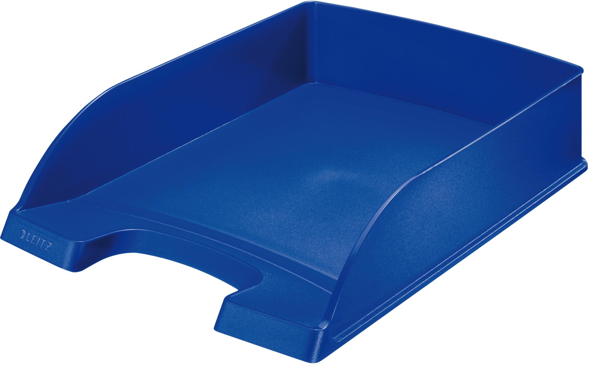 Blauer Leitz Briefkorb Plus für A4 aus Polystyrol, senkrecht oder versetzt stapelbar