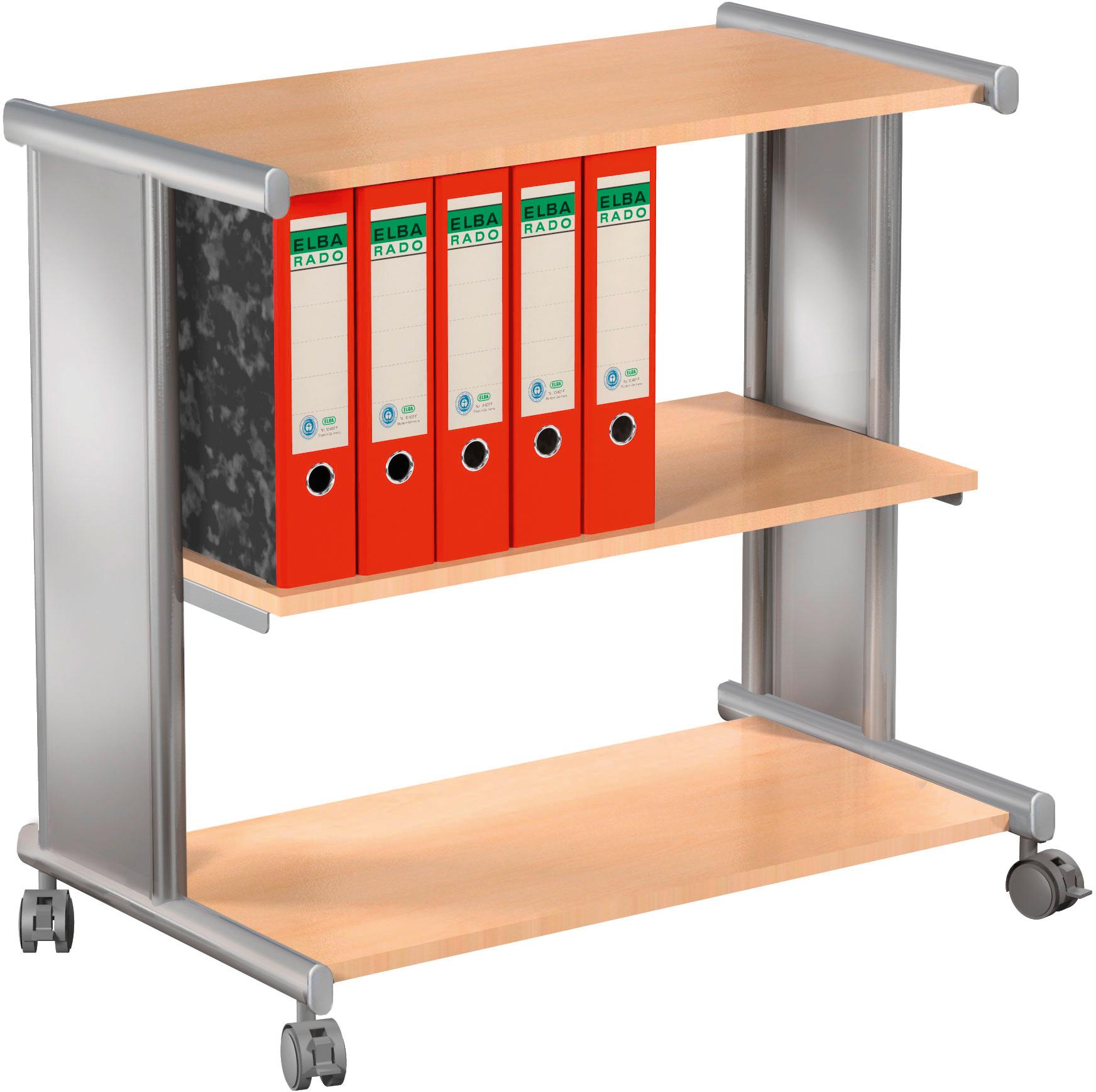 Bürowagen Pragma Etagenwagen mit 3 Ablageböden in alusilber/ buche