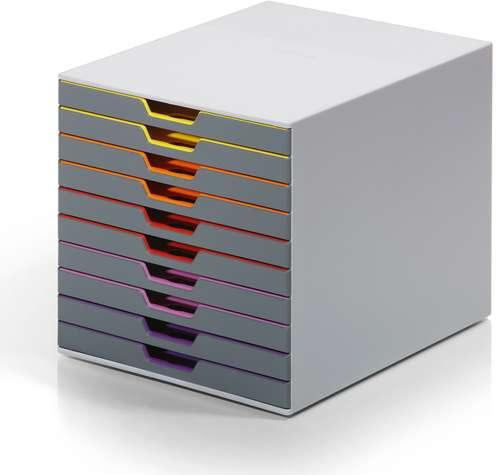 Durable Schubladenbox Varicolor (10er) in Grau für Format DIN A4/C4 stapelbar