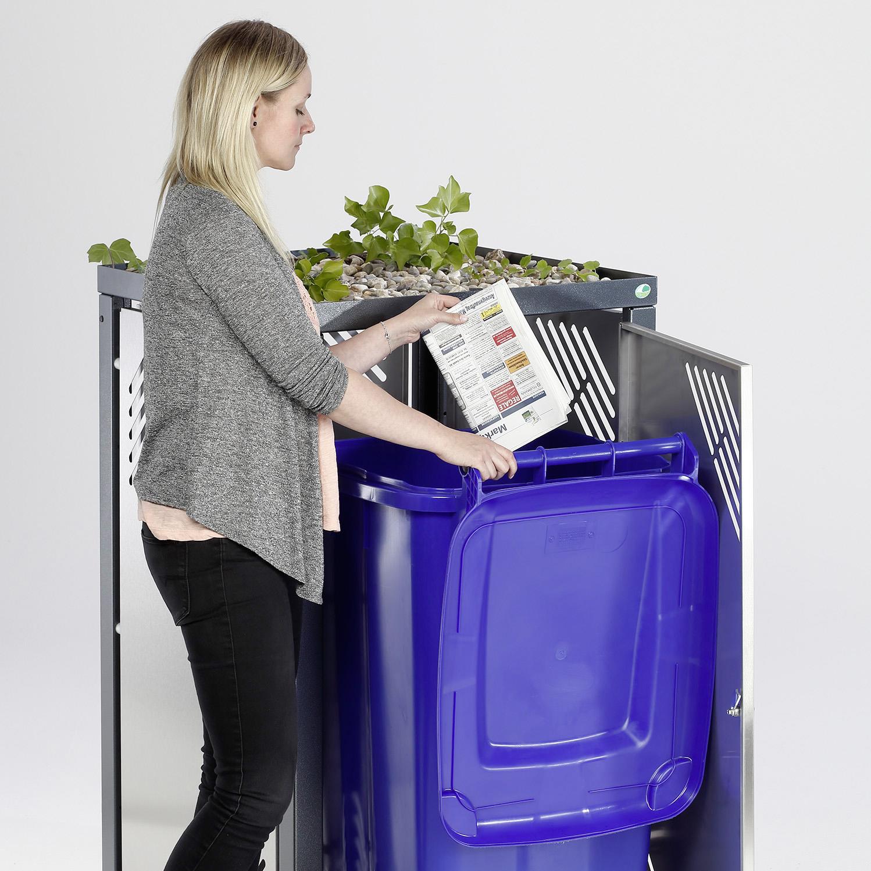 Abschließbarer Müllbehälterschrank mit Pflanzdeckel für 120 Liter Mülleimer