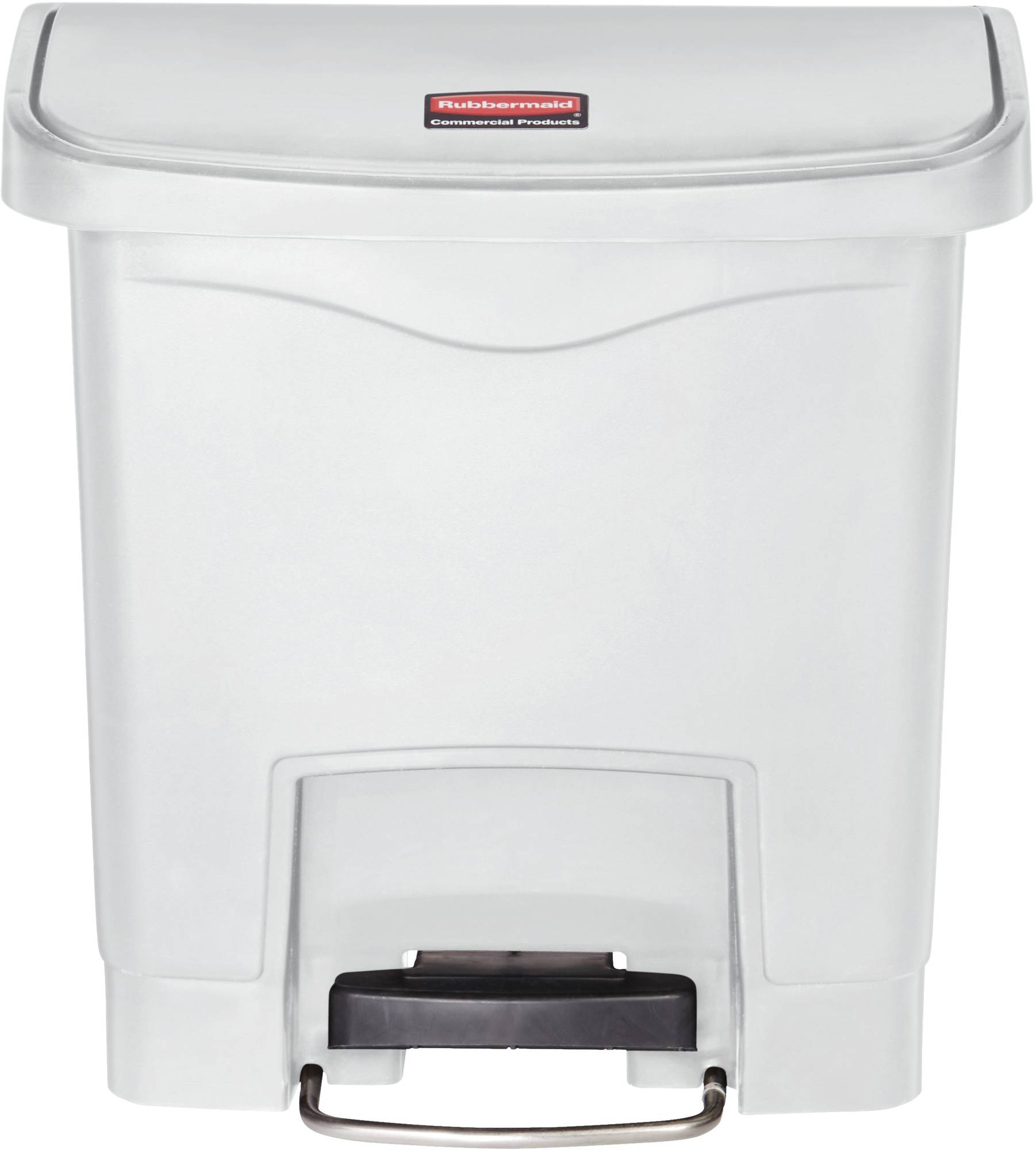 Rubbermaid Slim Jim Step On Container, Front Step mit 15 l Füllmenge in Weiß, breites Fußpedal