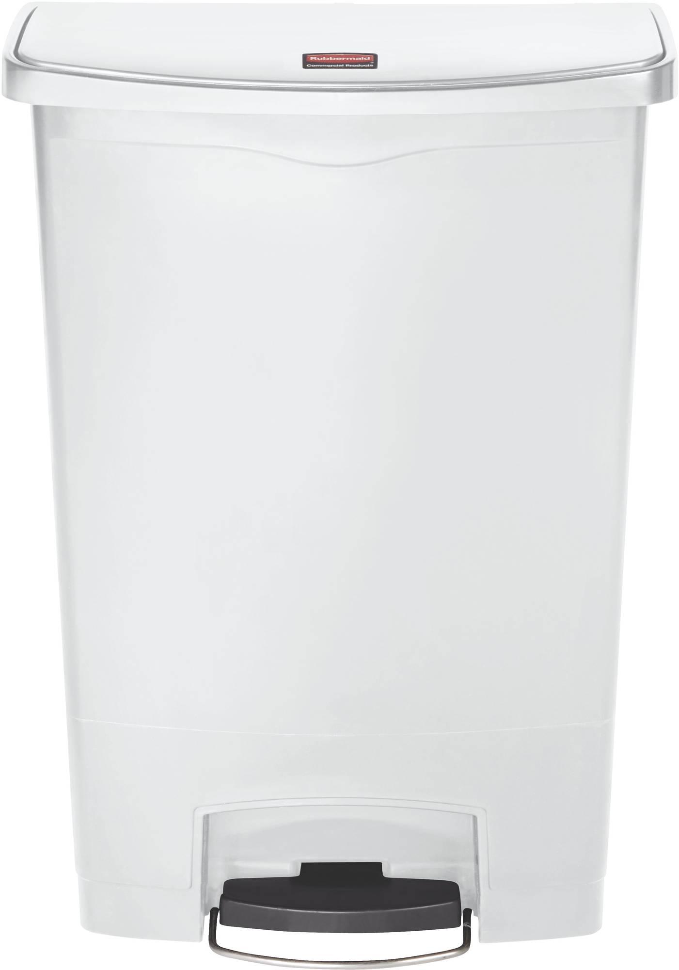 Rubbermaid Slim Jim Step On Container, Front Step mit 90 l Füllmenge in Weiß, breites Fußpedal