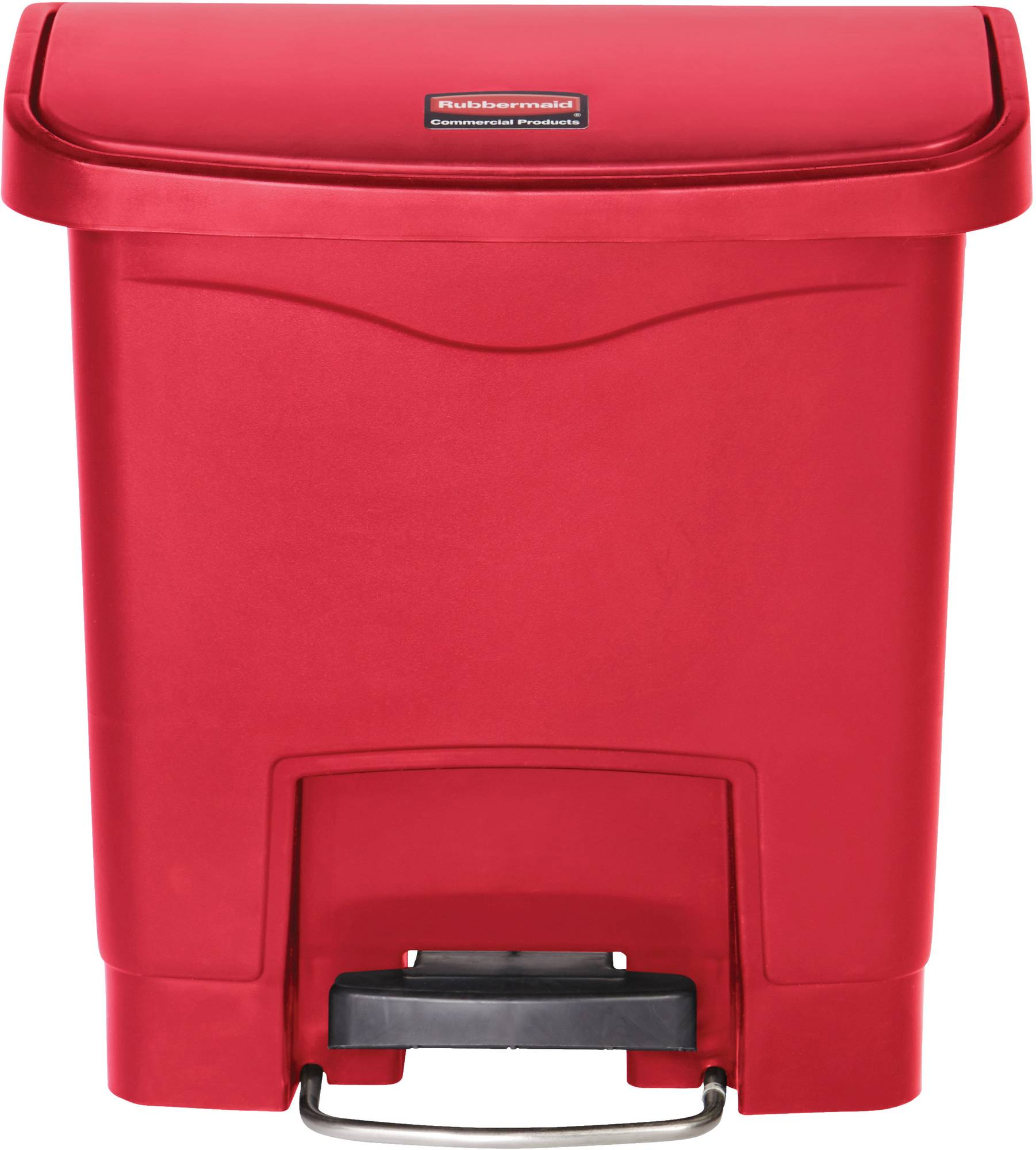 Rubbermaid Slim Jim Step On Container, Front Step mit 15 Liter Füllmenge in Rot, breites Fußpedal