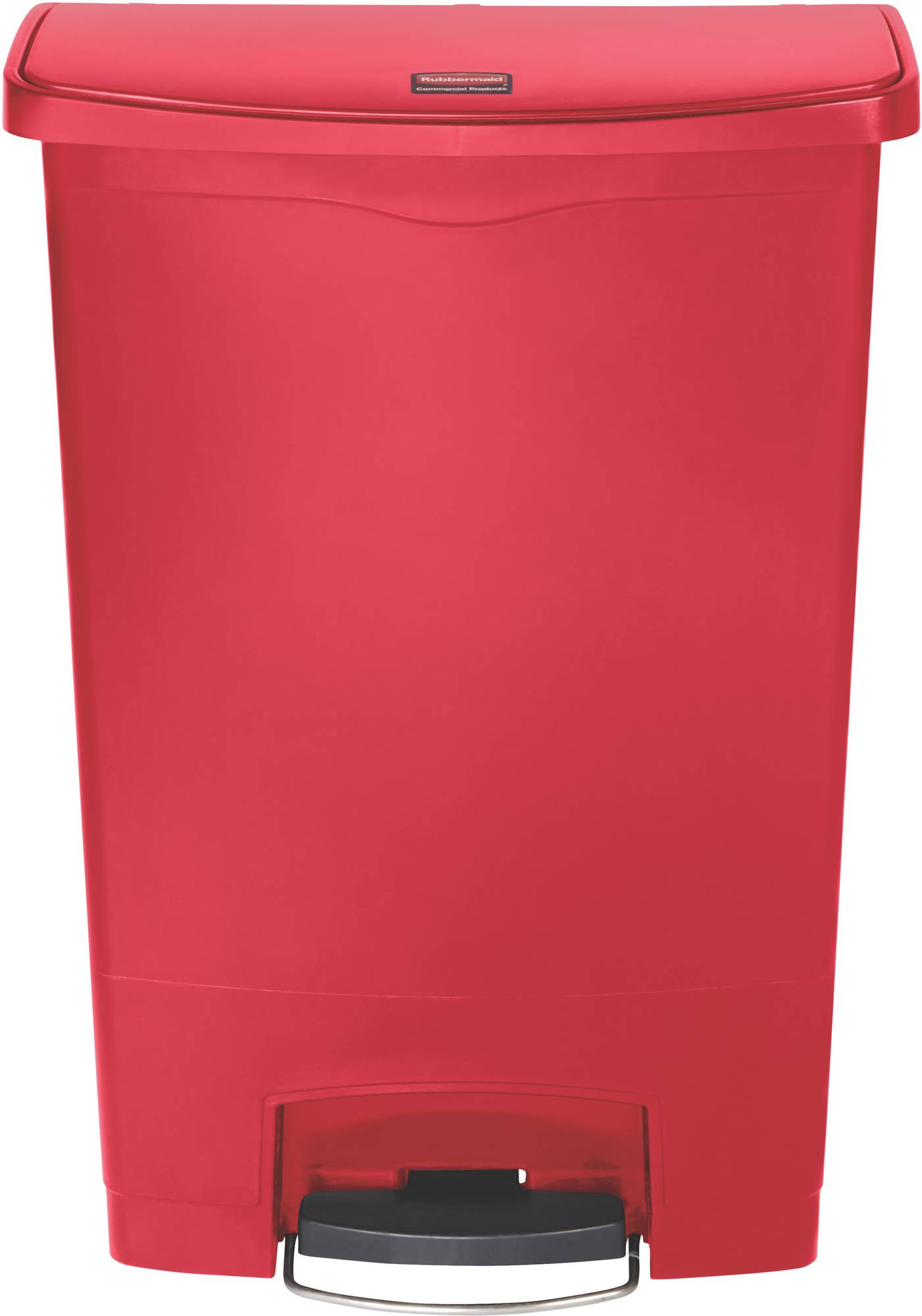 Rubbermaid Slim Jim Step On Container, Front Step mit 90 Liter Füllmenge in Rot, breites Fußpedal