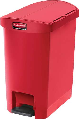 Rubbermaid Slim Jim Step On Container, End Step mit 30 Liter Füllmenge in Rot