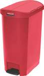 Rubbermaid Slim Jim Step On Container, End Step mit 50 Liter Füllmenge in Rot  1