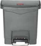 Rubbermaid Slim Jim Step On Container, Front Step mit 15 Liter Füllmenge in Grau, breites Fußpedal 2