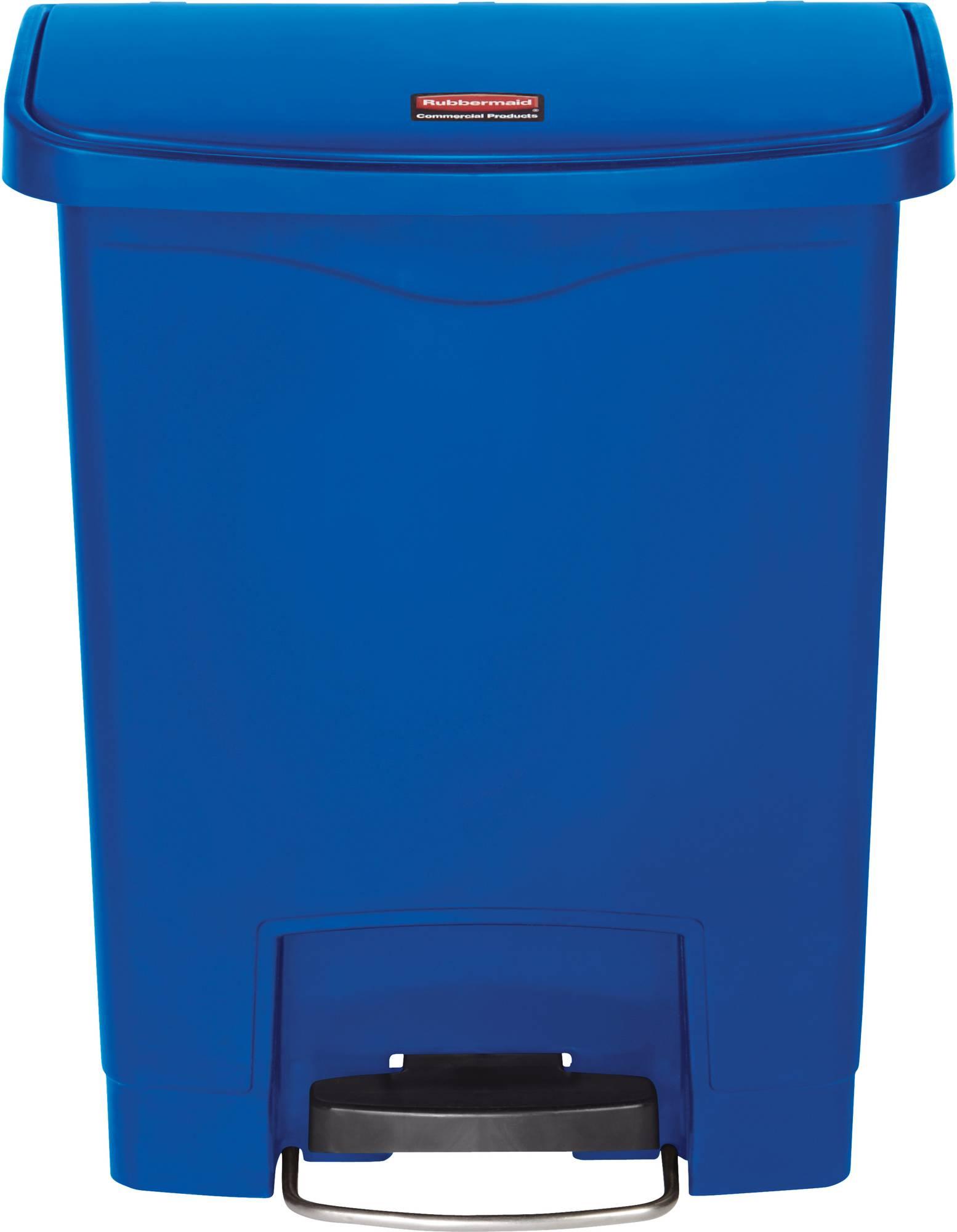 Rubbermaid Slim Jim Step On Container, Front Step mit 30 Liter Füllmenge in Blau, breites Fußpedal