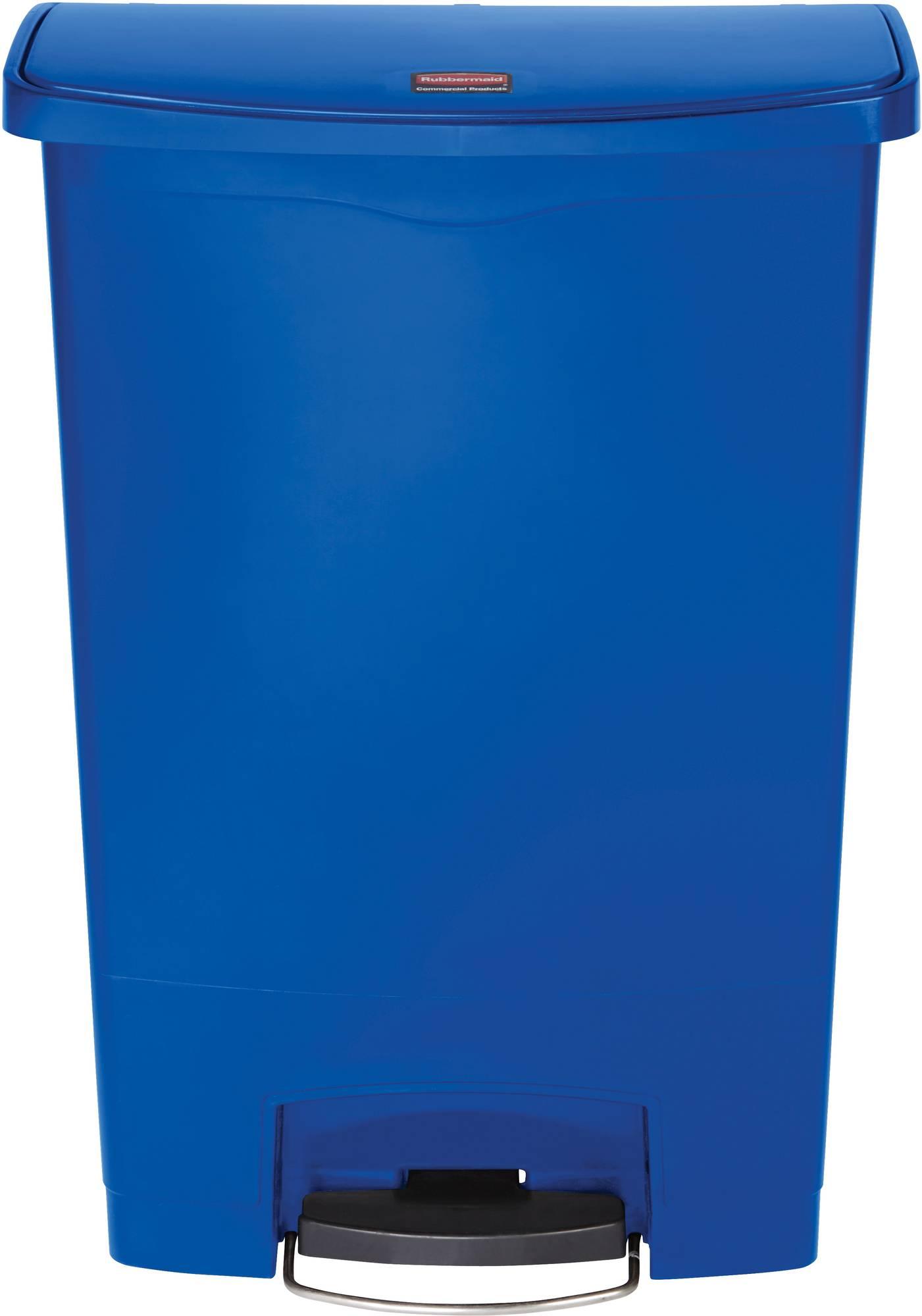 Rubbermaid Slim Jim Step On Container, Front Step mit 90 Liter Füllmenge in Blau, breites Fußpedal
