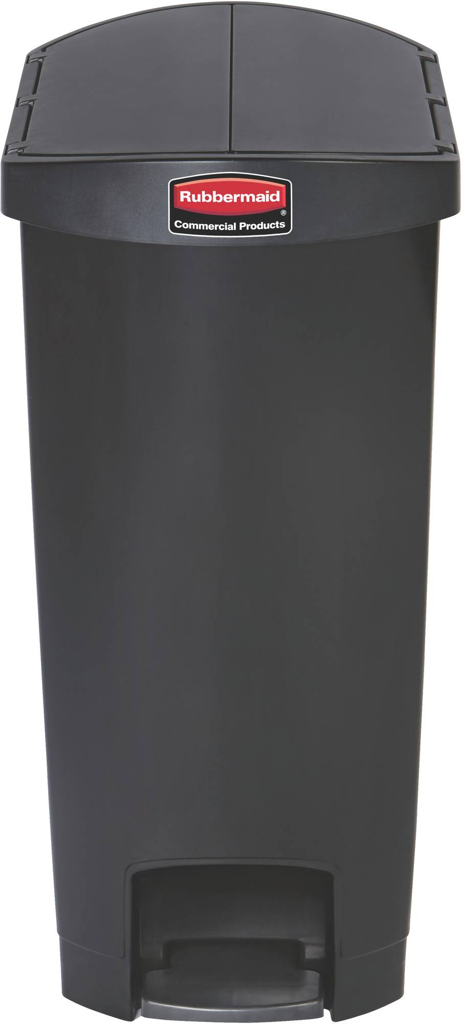 Rubbermaid Slim Jim Step On Container End Step mit 50 l Füllmenge in Schwarz, geteilter Deckel