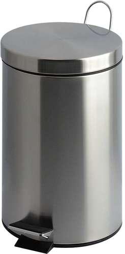 Tret-Abfalleimer, 20 Liter, Edelstahl glänzend, mit Stahlgriffen