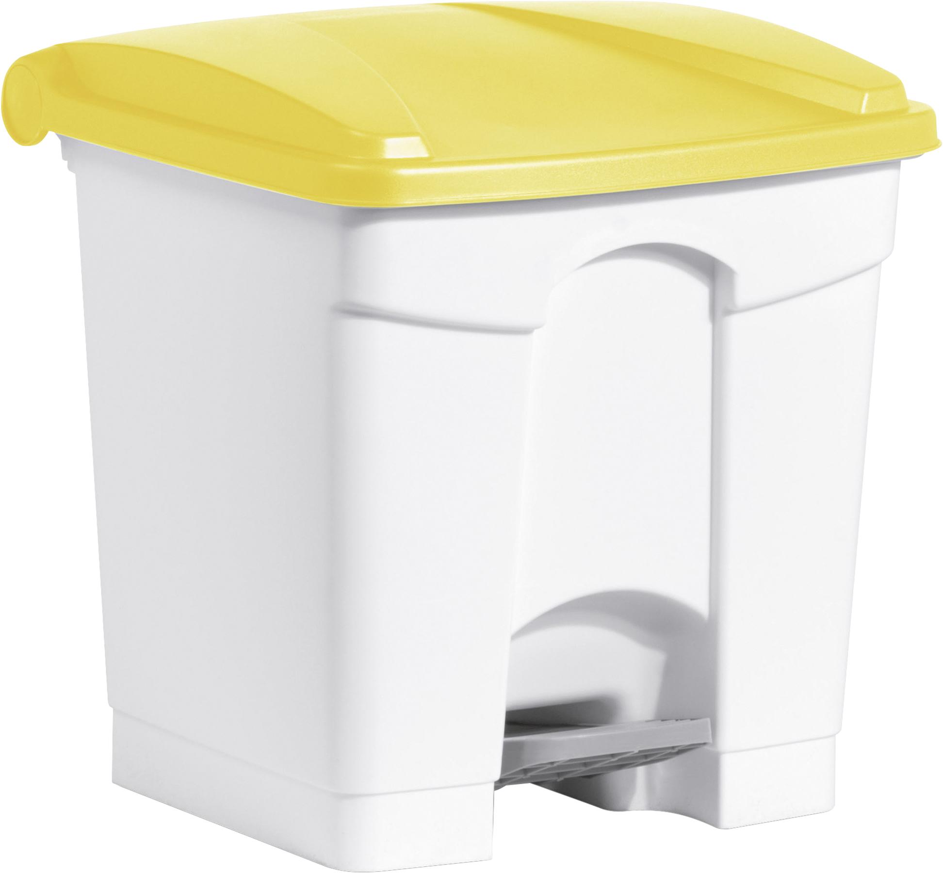 Tret-Abfallbehälter mit gelbem Deckel und 30 Liter Fassungsvermögen