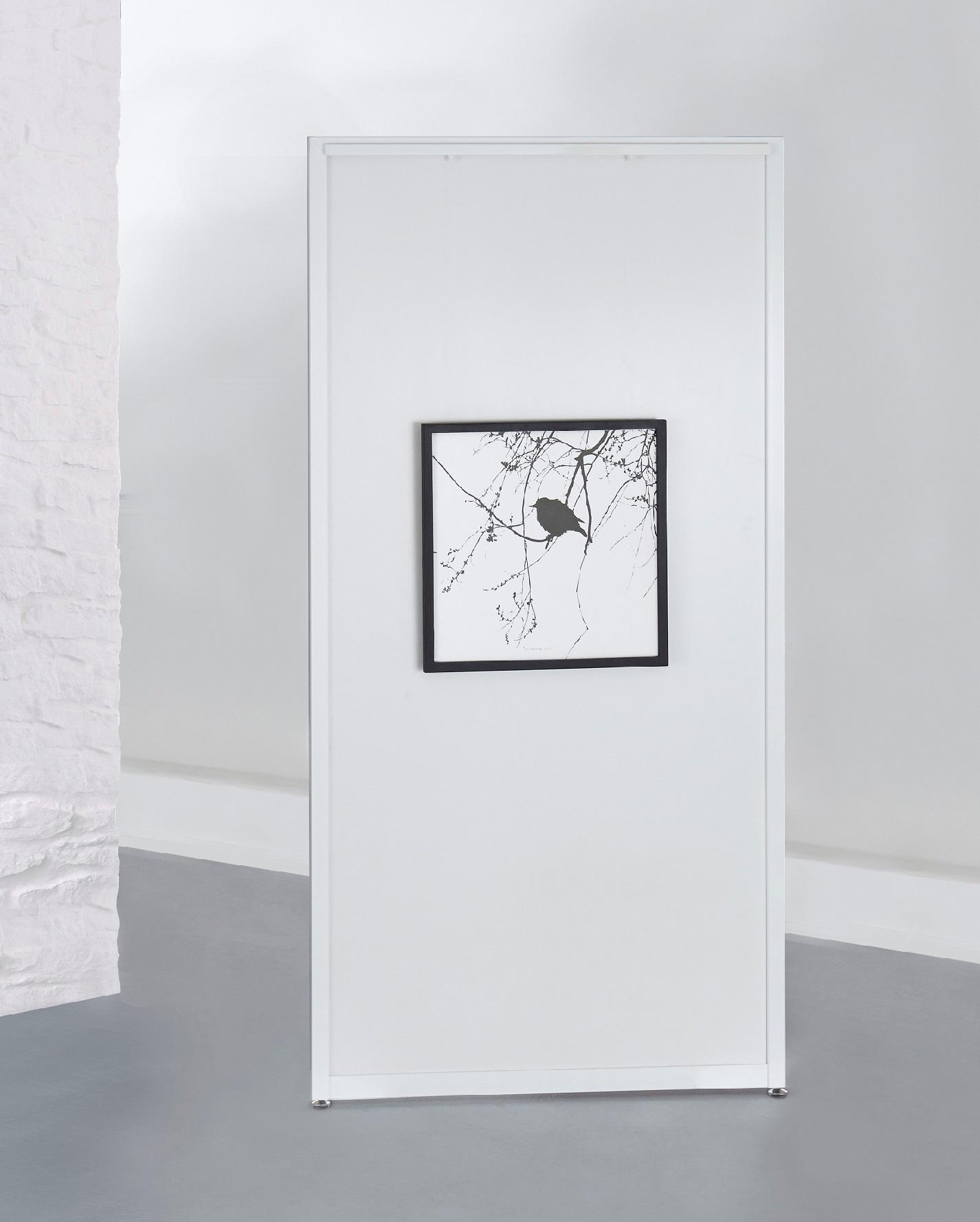 Weißes Stellwandmodul 'Screen Art', Dekorplatte mit den Maßen 100 x 198 cm