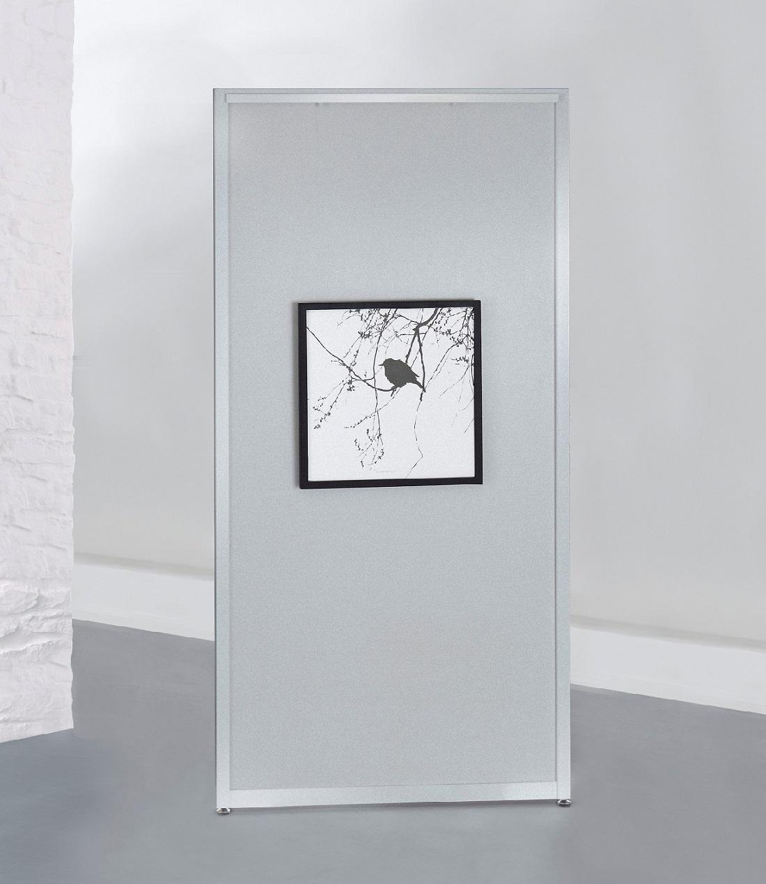 Stellwandmodul 'Screen Art' in Dekor silber in den Maßen 100 x 198 cm