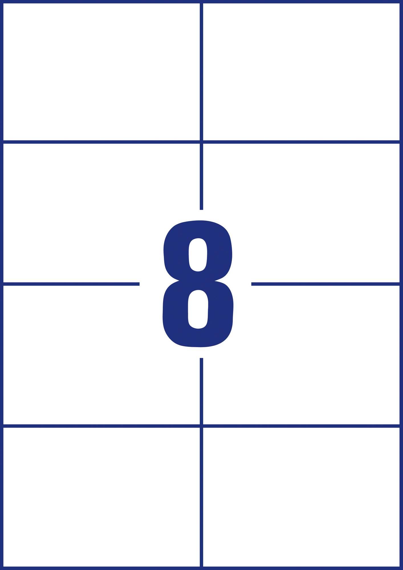 Weiße Avery Zweckform 3427-200 Universal-Etiketten, 105 x 74 mm, 8 Etiketten pro Blatt