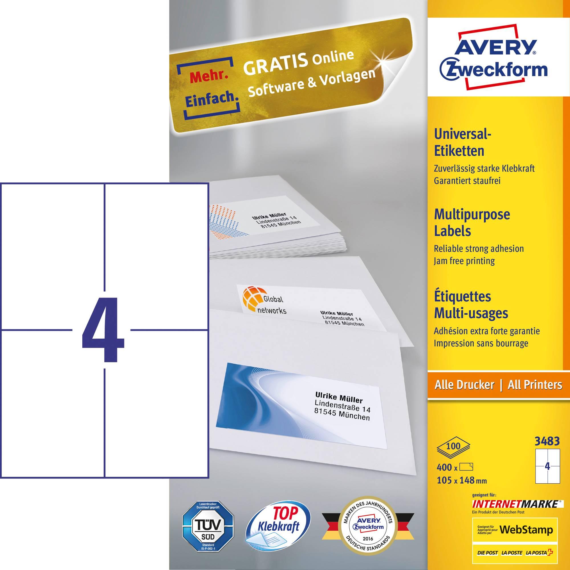 Weiße Avery Zweckform 3483-200 Universal-Etiketten, 105 x 148 mm für Laserdrucker, Kopierer