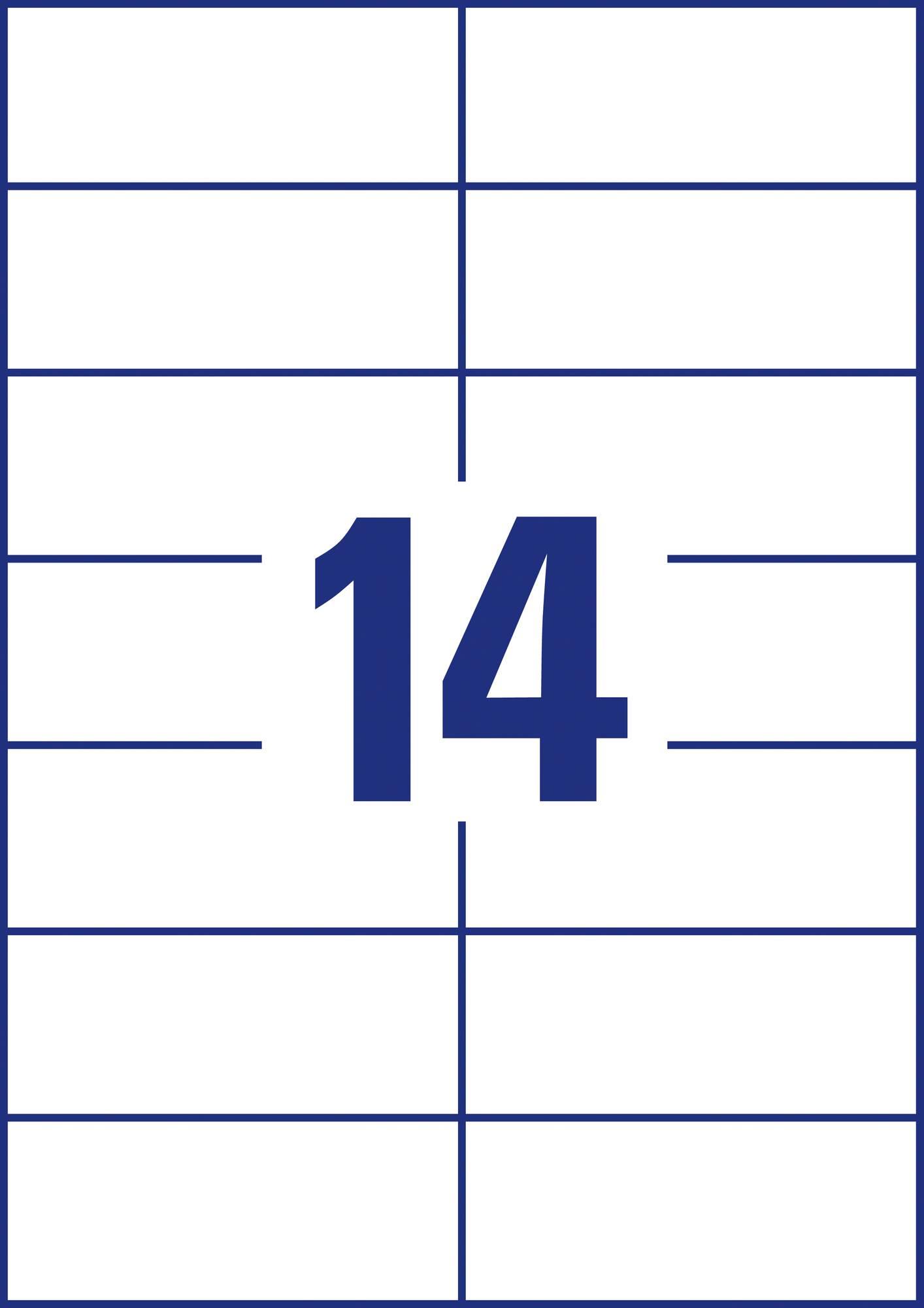 Weiße Avery Zweckform 3653-200 Universal-Etiketten, 105 x 42,3 mm, 14 Etiketten pro Blatt