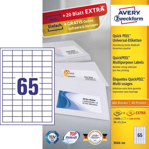 Avery Zweckform 3667-200 Universal-Etiketten, 48,5 x 16,9 mm