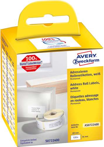Avery Zweckform, Adress-Rollenetiketten, AS0722400, 89 x 36 mm