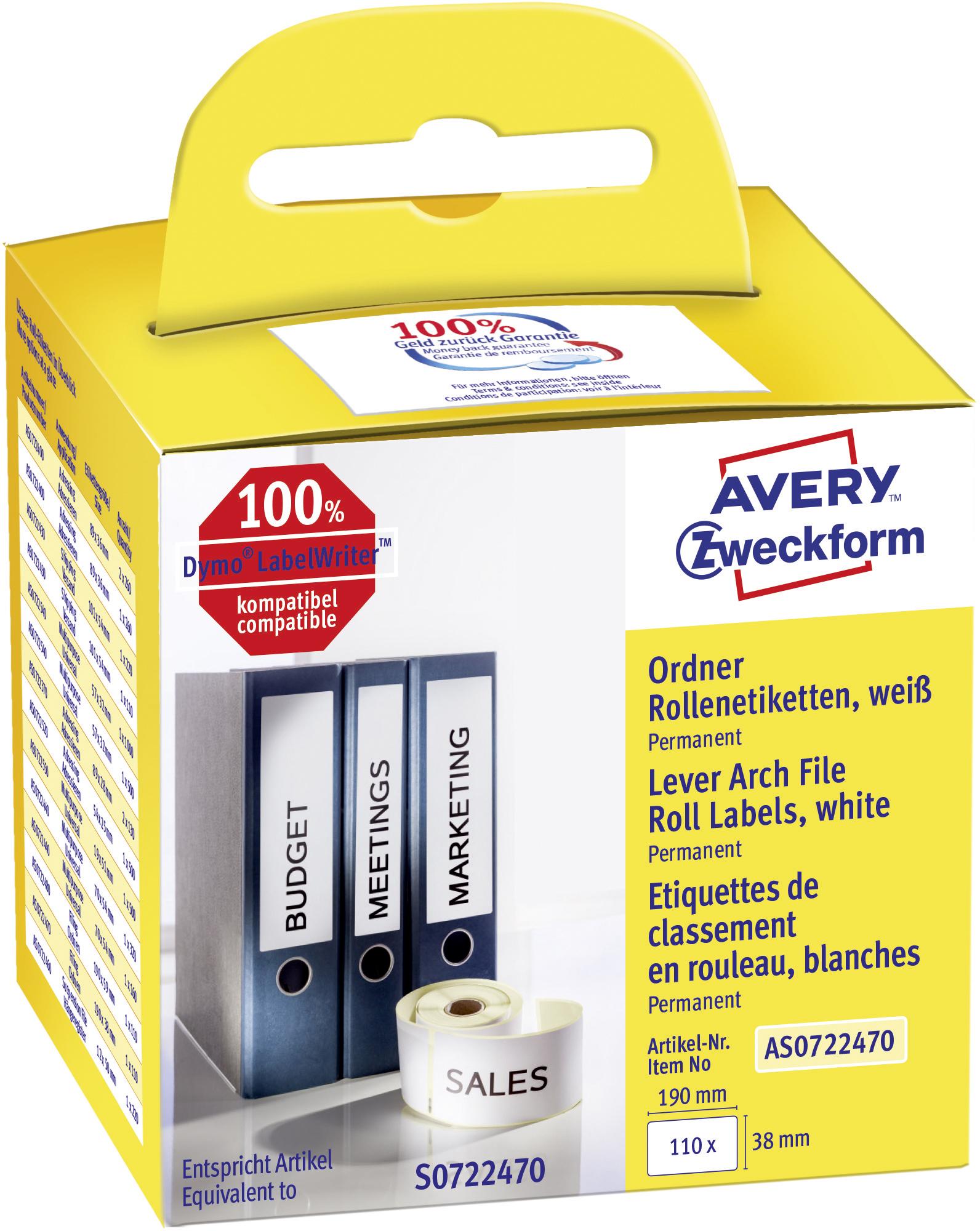 Weiße Avery Zweckform Ordner-Rollenetiketten AS0722470, 190 x 38 mm