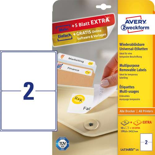Avery Zweckform L4734REV-25 Universal-Etiketten, 199,6 x 143,5 mm