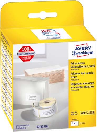 Avery Zweckform Adress-Rollenetiketten, AS0722520, 54 x 25 mm