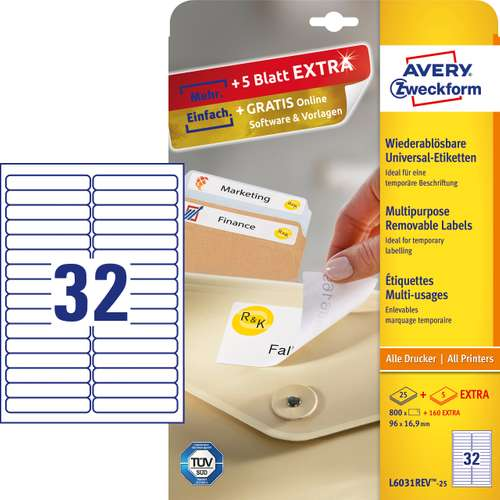 Avery Zweckform L6031REV-25 Universal-Etiketten, 96 x 16,9 mm