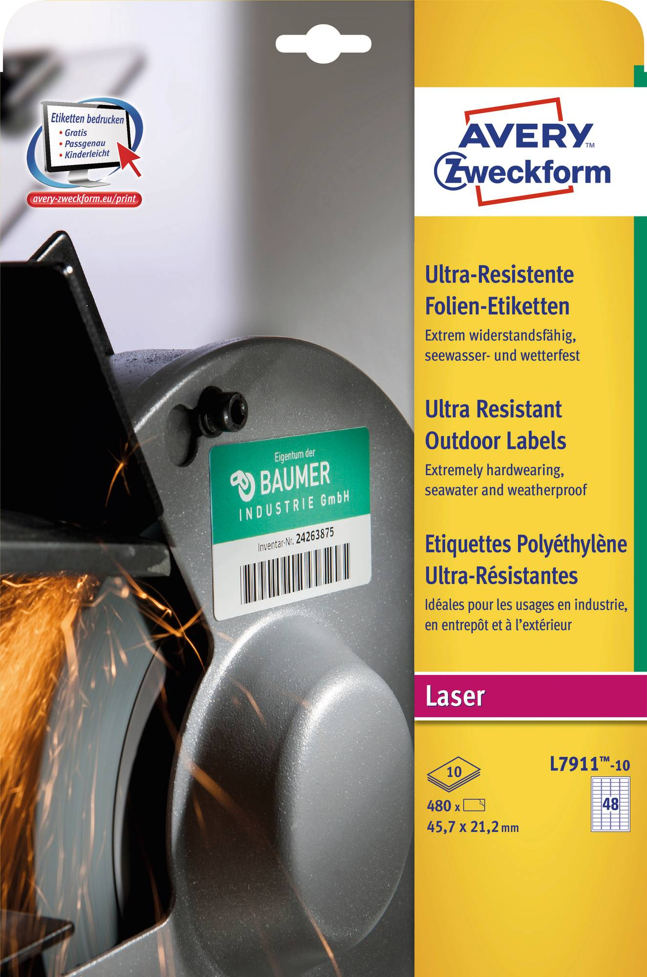 Verpackungsansicht Avery Zweckform L7911 Ultra-Resistente Etiketten mit den Maßen 45,7 x 21,2 mm