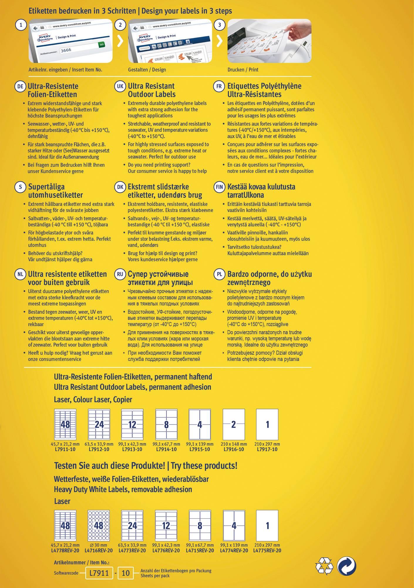 Verpackungsrückseite Avery Zweckform L7915 Ultra-Resistente Etiketten mit Informationen