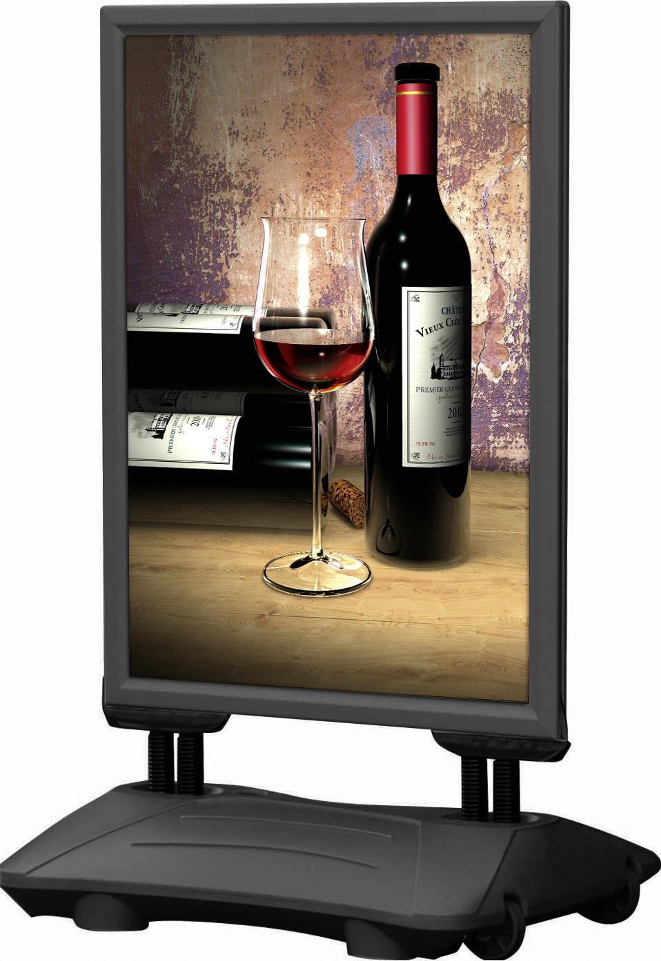 Kundenstopper 'WindPro' für A0 Format in der Farbe schwarz mit Beispielbild