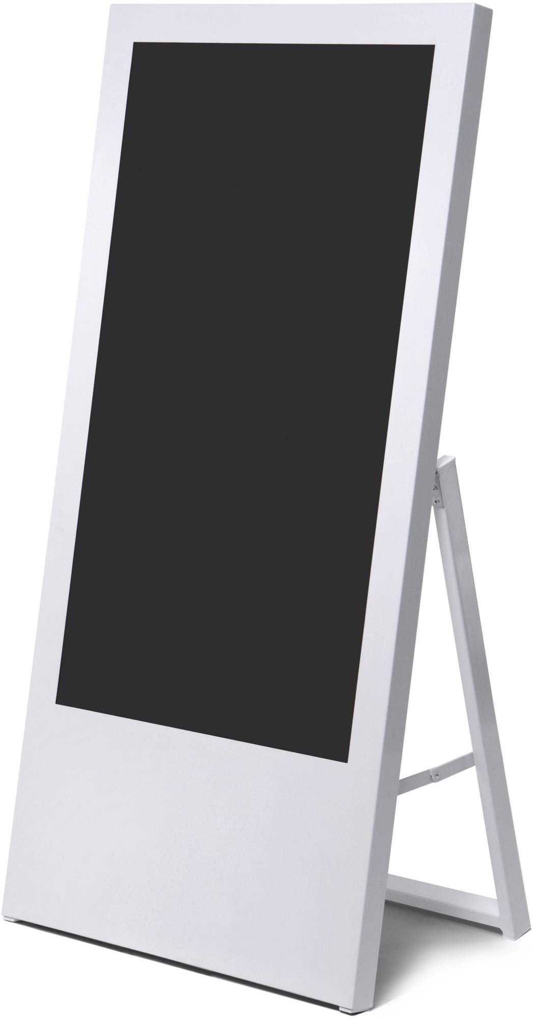 Weißer digitaler Kundenstopper Economy - Digital Signage für Bildschirme im Format 43 Zoll geeignet