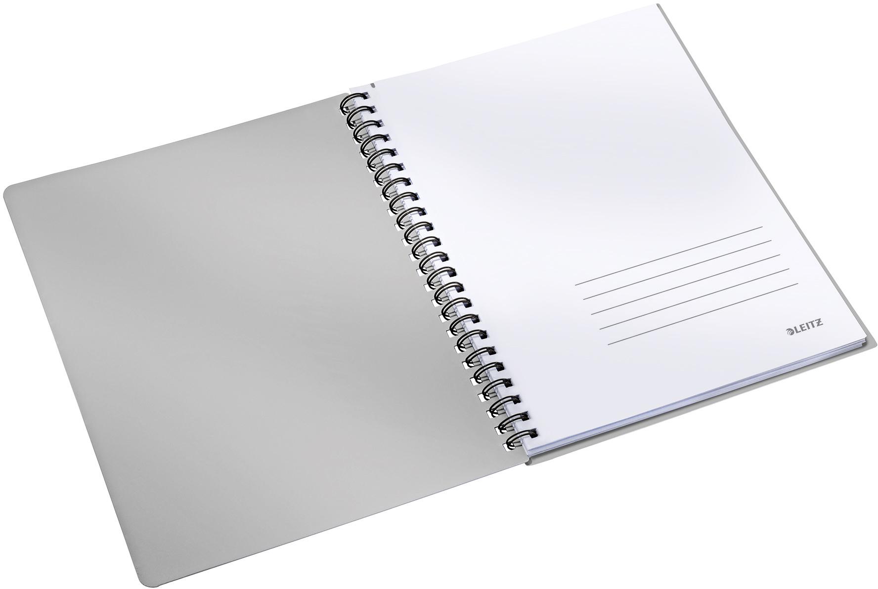 Geöffneter Leitz Executive Collegeblock A4 mit karierten Seiten und Introseite für Kontaktdaten