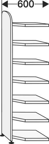 Büroregal Dante mit Rückwand Eckfeld 600 x 600, 7 Fachböden
