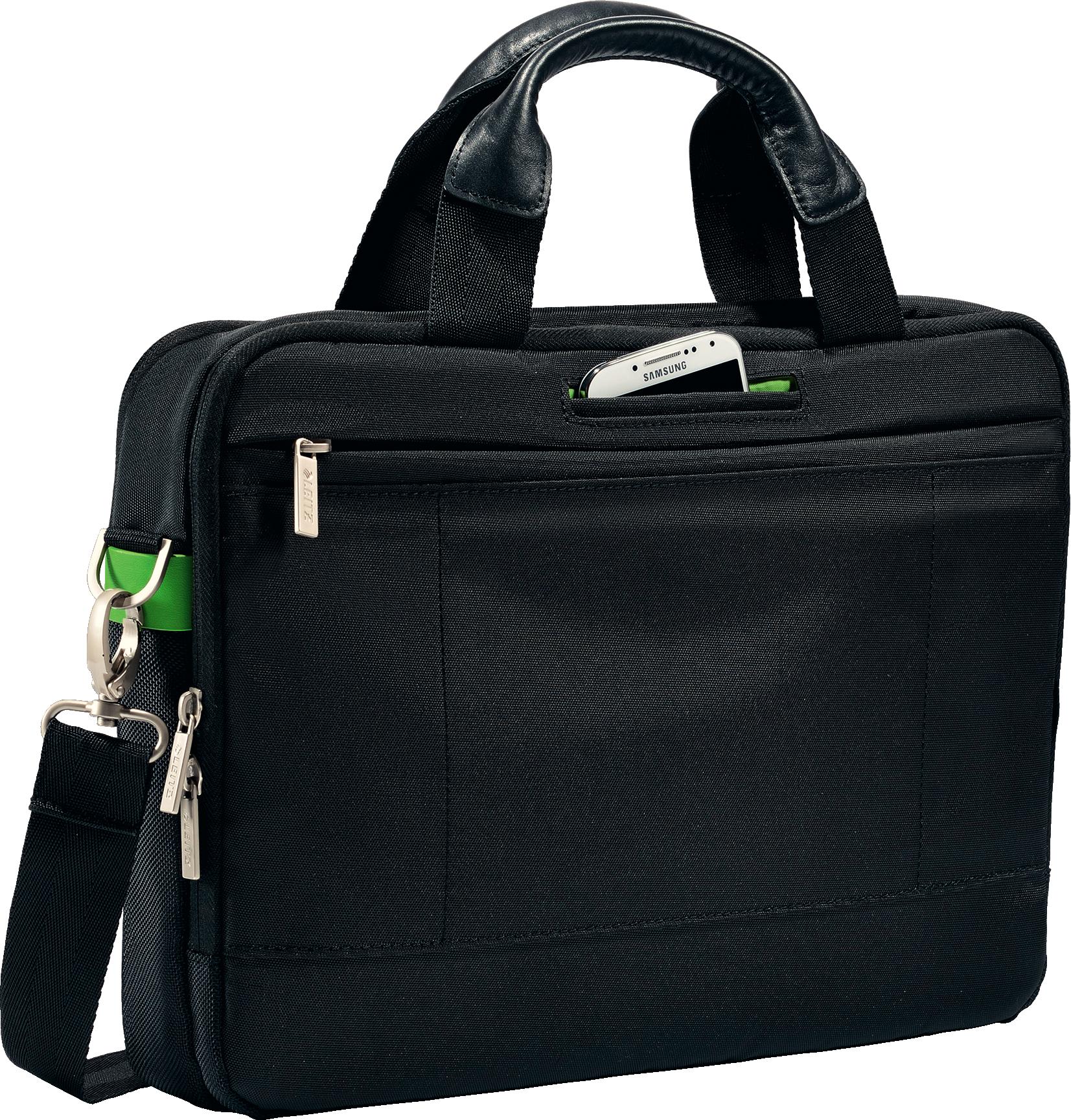 LEITZ Complete Laptop-Tasche Smart Traveller 13,3 in schwarz mit Tragegriffen aus Echtleder