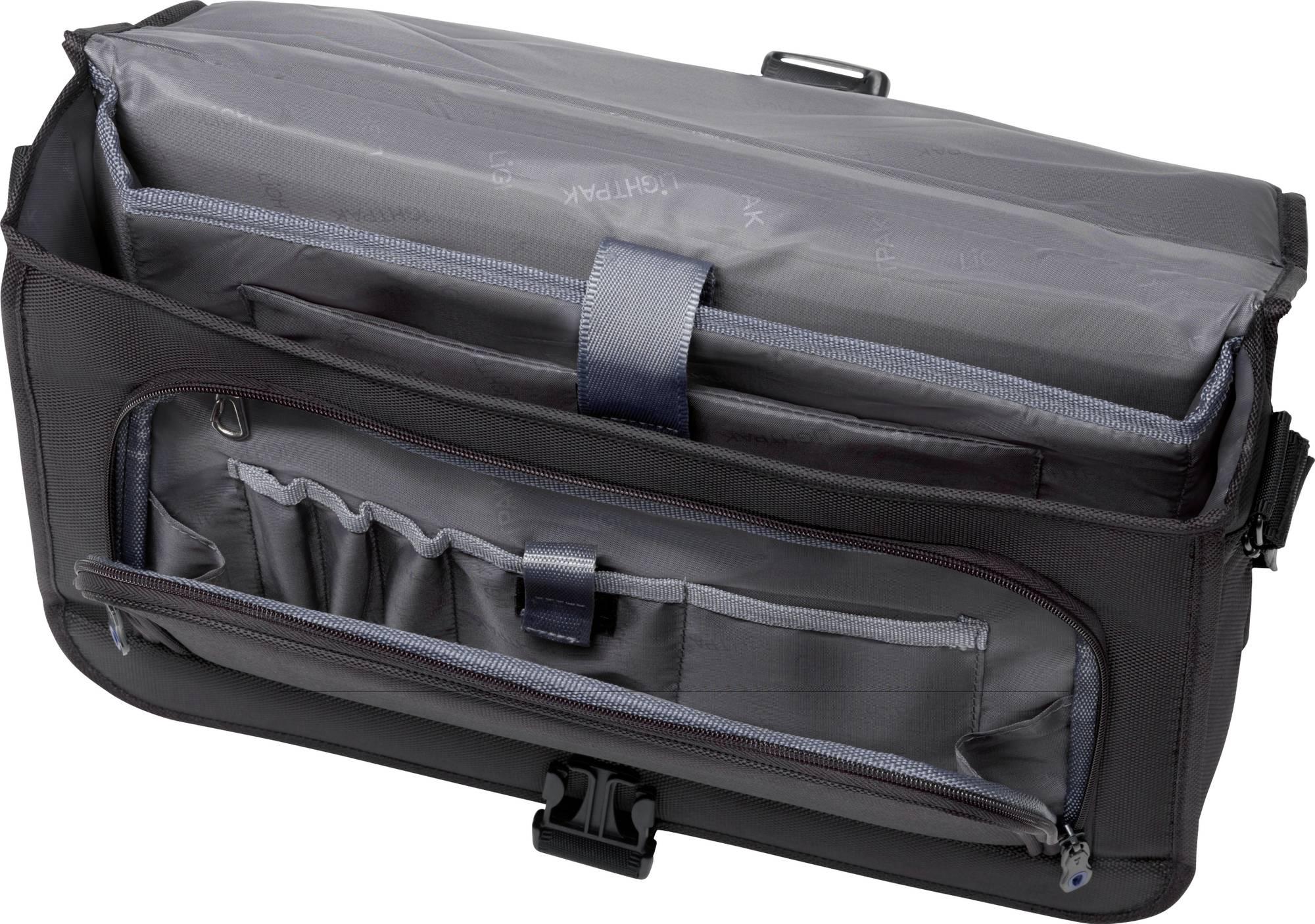 Fachaufteilung Lightpak Tasche Solar in der Farbe schwarz mit Reißverschlussfach auf der Vorderseite