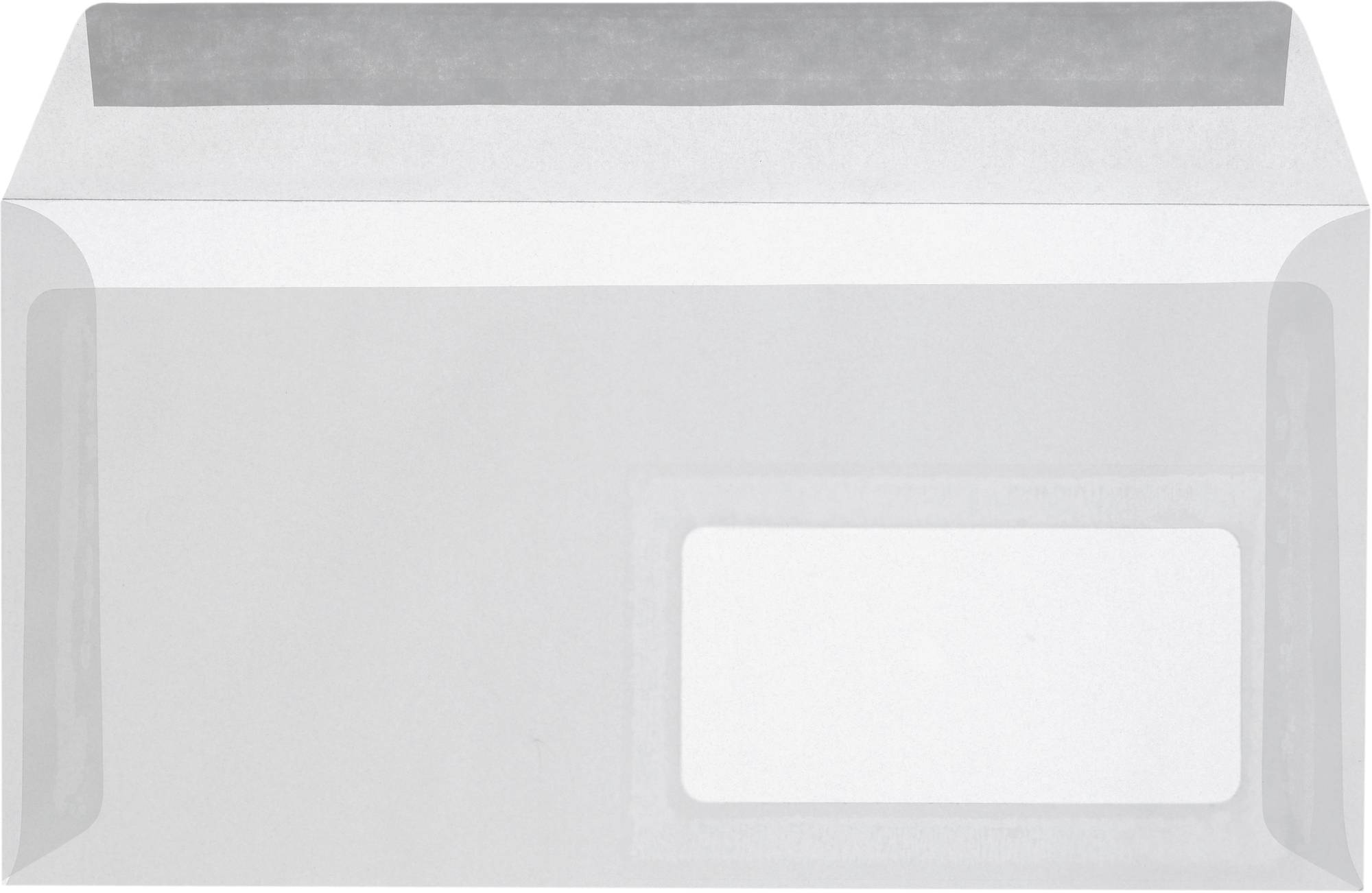 Transparenter Briefumschlag mit Fenster in DIN lang