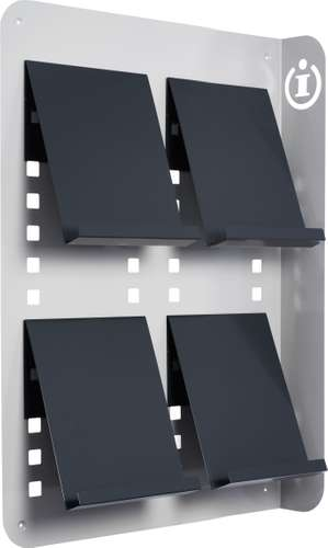 Info Wanddisplay, Metallablagefach, 4 x A4