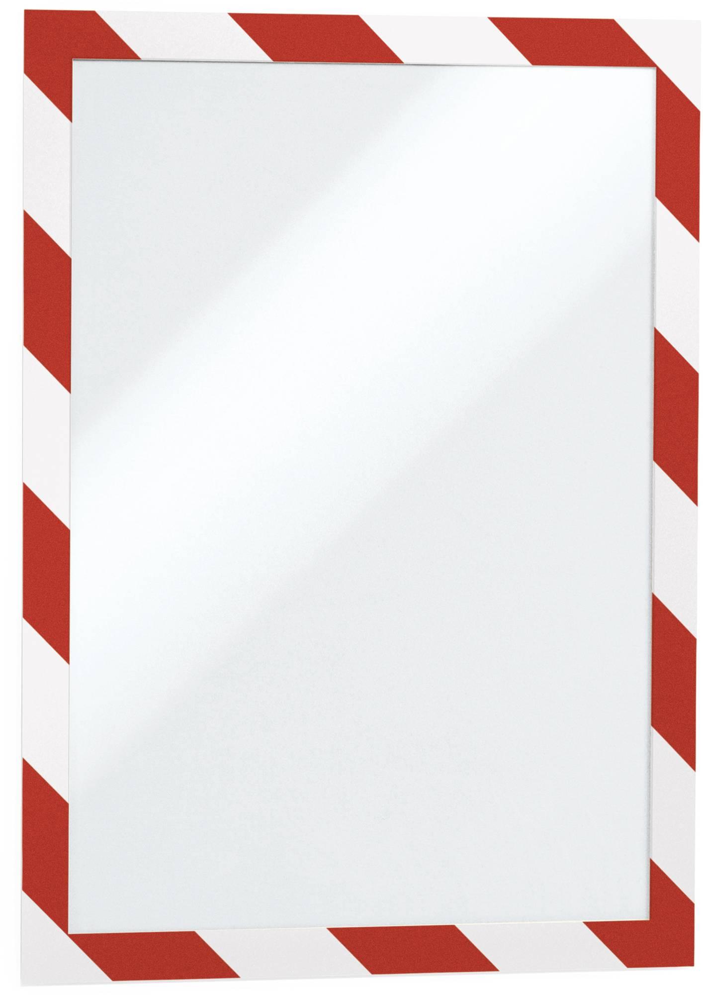Weiß/rot gestreifter, selbstklebender A4 Duraframe Security Inforahmen –Kennzeichnung DIN ISO 3864-4
