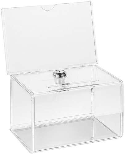 Glasklare Acryl Losbox mit Schloss, 143 x 98 x 90 mm
