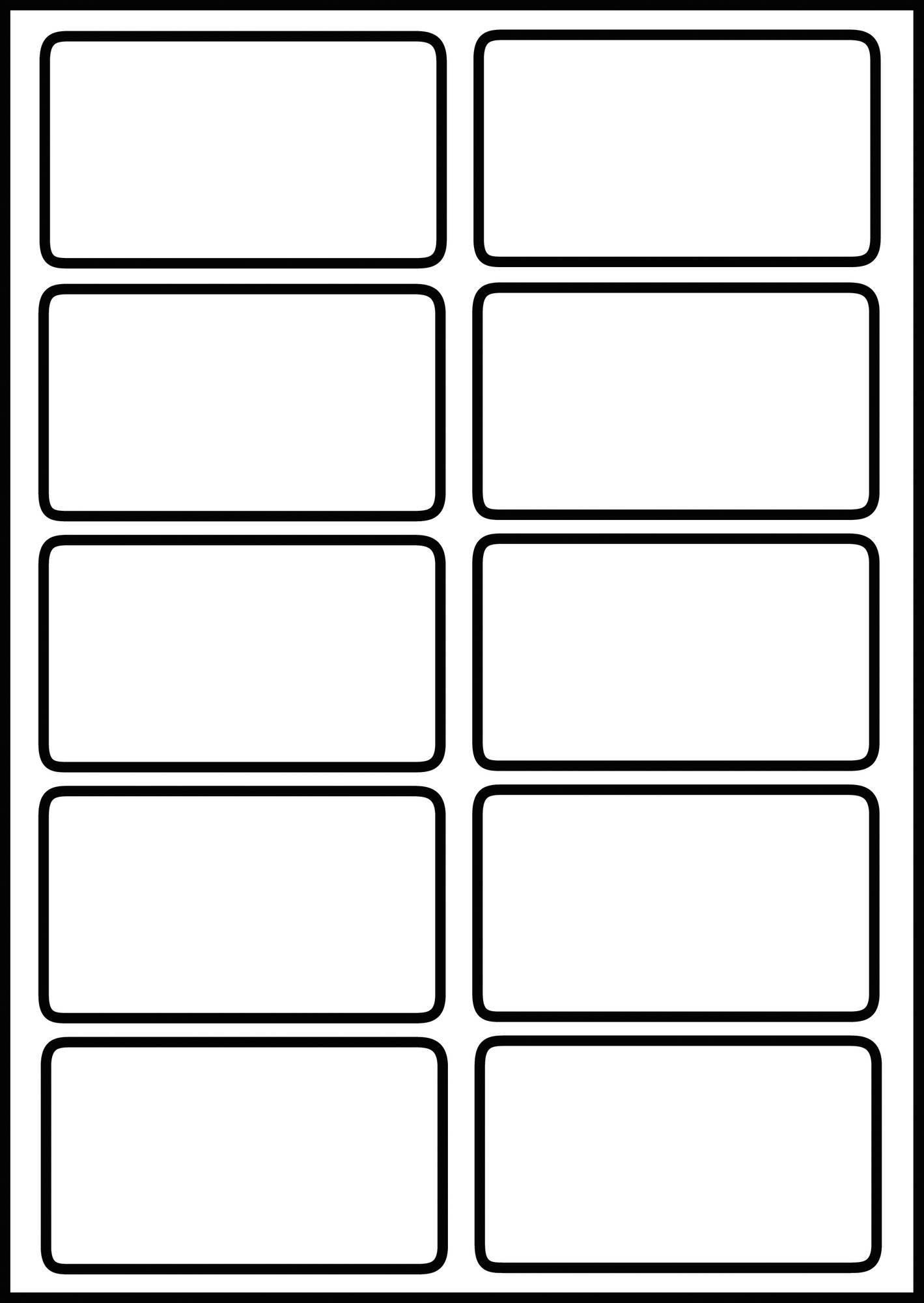 10 Blanko-Visitenkarten in blanco als A4 Bogen aus Spezialkarton, mit Beispiel bedruckt