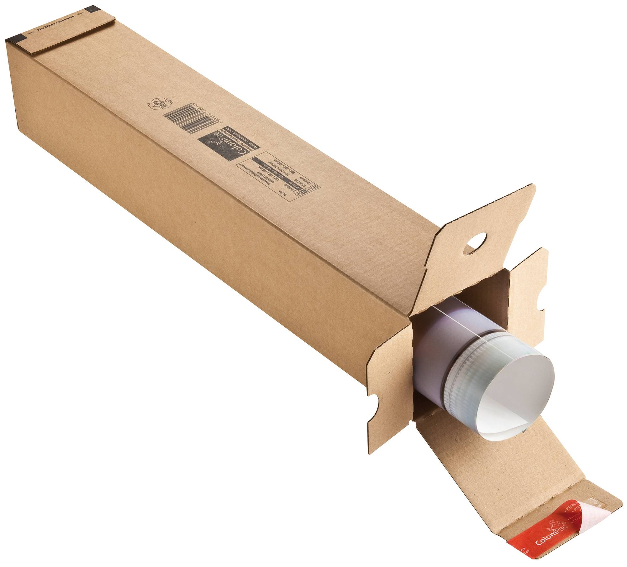 Planversand- Box für A1 aus Wellenpappe in braun, mit Selbstklebeverschluss
