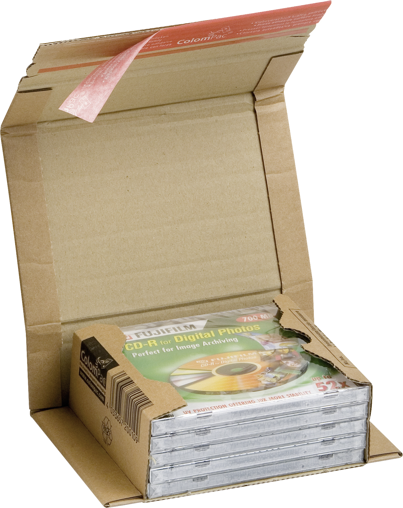 Braune Versand-Verpackung für DIN A5 aus Wellenpappe mit Haftklebeverschluss