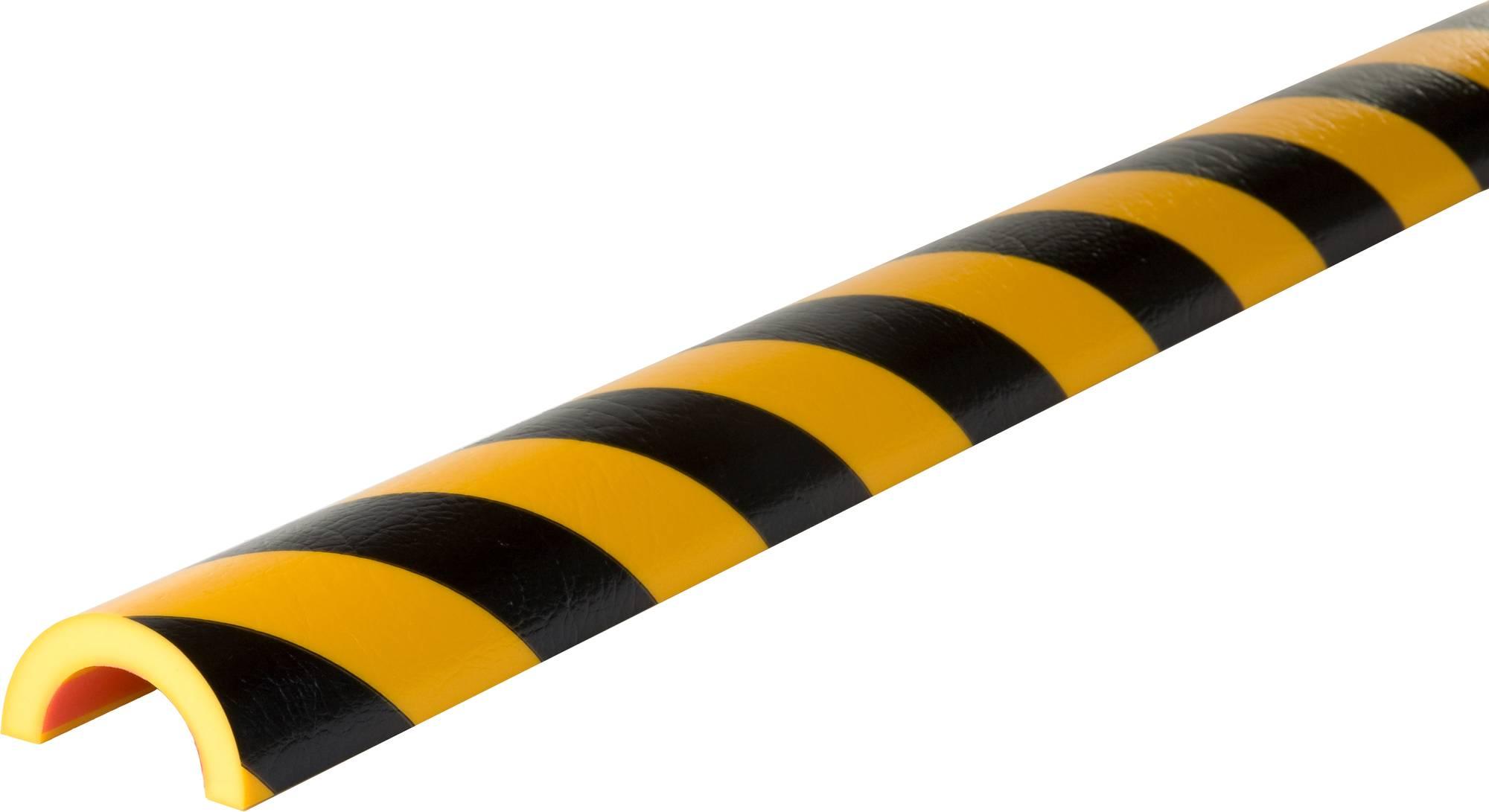 selbstklebender Rohrschutz Bogen Typ R50 in gelb/schwarz, absorbiert Stöße und warnt