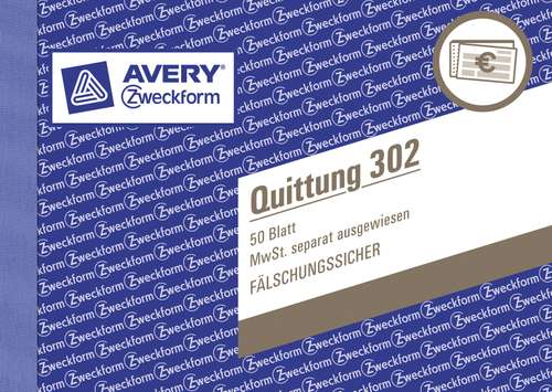 Quittung Avery Zweckform 302