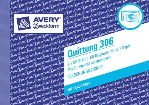Quittungsblock Avery Zweckform 306