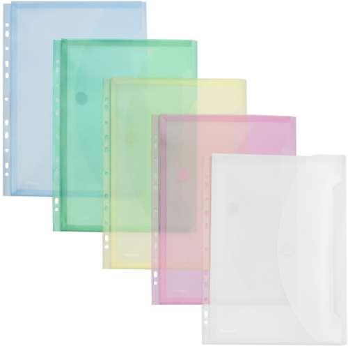 FolderSys Sichttasche in 5 Farben, Dehnfalte und Abheftrand, A4