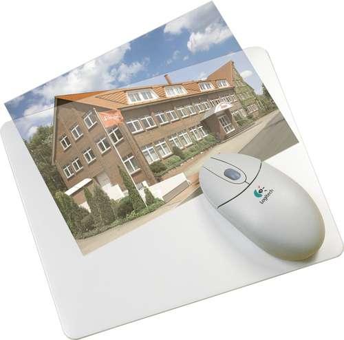 Weißes Mouse-Pad mit Klarsichttasche