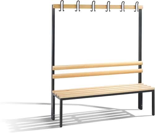 Einseitige Garderobenbank 1650 x 1500 x 403, 6 Doppelhaken